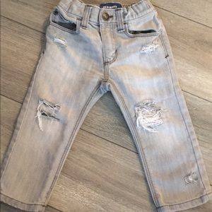 18-24 month old navy skinnies Hand Distressed